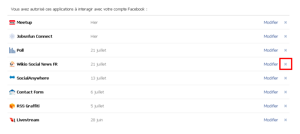 supprimer application profil facebook