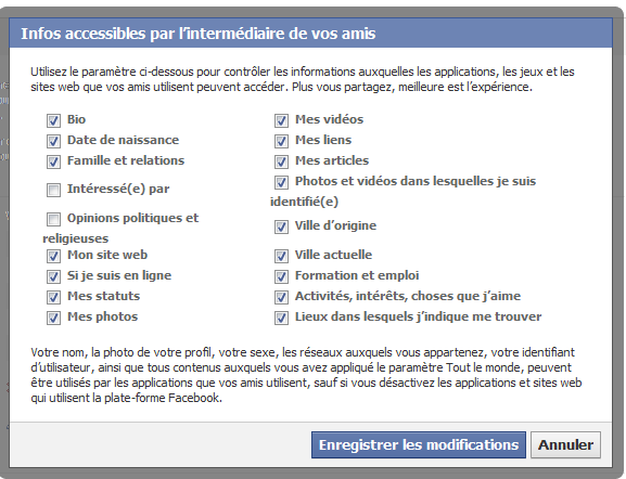 paramètre confidentialité application facebook