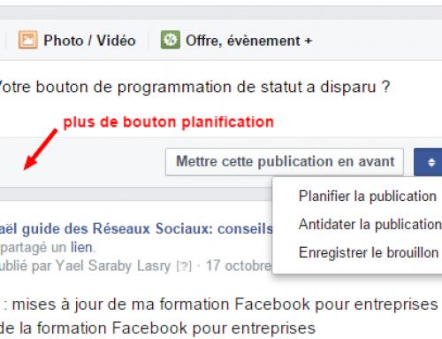 Votre bouton de programmation de statut Facebok a disparu ?