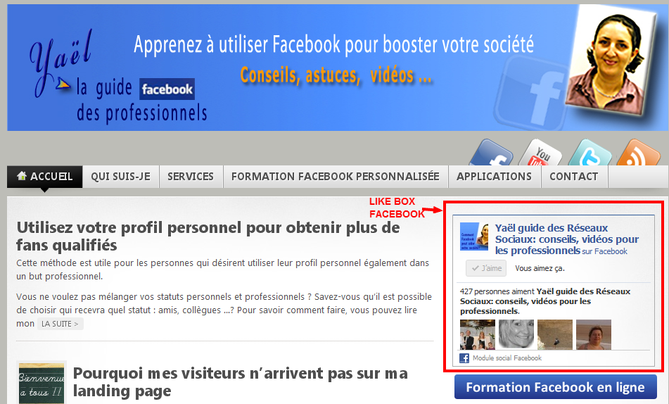 likebox dans blog wordpress