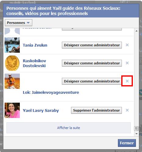 supprimer fan facebook